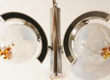 LUSTRE SUSPENSION ARC VERRE SOUFFLE 1970 VINTAGE SPACE AGE POP VTG 70S LIGHT