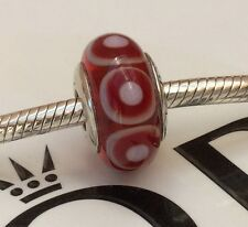 GENUINE PANDORA STERLING SILVER RED STEPPING STONES MURANO CHARM 790909  RARE