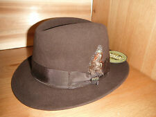 New Mens SCALA sicily Rabbit Fur Felt fedora Hat BROWN Furfelt size LARGE