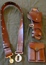 WWII WWI M1912 ARMY OFFICER LEATHER .45 PISTOL BELT HOLSTER & AMMO POUCH