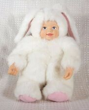 """Anne Geddes White Bunny Baby Plush w/Porcelain Face Hands 8"""""""