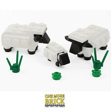 LEGO Sheep Lamb + grass - Custom set of 3 for farm, field or town/city. NEW