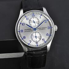 43mm Parnis Power Reserve Silver Dial Blue Numbers Men's Automatic Watch