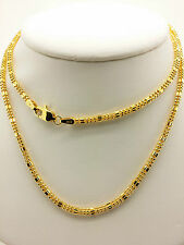 21k Solid Yellow Gold Sparkle Square Beaded Necklace/ Chain 9.12 Grams