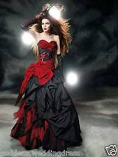 Gothic Vintage Ball Gown Red/Black Wedding Party Dress Custom Evening Gowns