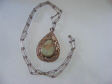 Vintage Sterling Silver Old Pawn Life GREEN Turquoise Pendant Chain Necklace
