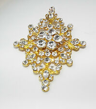 Modern CLEAR Rhinestone crystal BROOCH pin pendant LARGE big costume jewelry