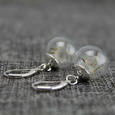 1 Pair Dandelion Glass Ball Earrings Eardrop Stylish Jewelry Decoration
