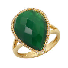 14K YELLOW GOLD DIAMOND PEAR GREEN AGATE COCKTAIL TEARDROP ENGAGEMENT RING