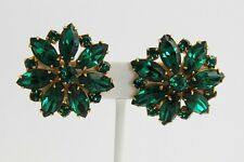 VINTAGE Jewelry SIGNED WEISS SHOWY GREEN RHINESTONE FLOWER CLIP EARRINGS