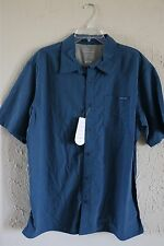 Merrell 30+ UPF, opti-wick Button Down Short Sleeve Men's Shirt - Size XL - Blue
