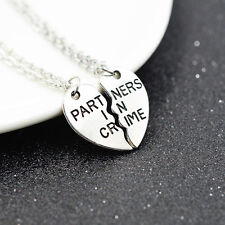 2pcs Partner in Crime Friendship Necklace Best Friend BFF Chain Gift Xmas UK