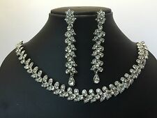 Indian Bollywood Bridal Jewellery Necklace Earring Set Tikka Head Piece Silver