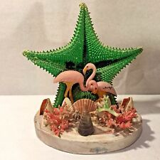 Vtg 50`s MCM Pink Flamingo Seashell Coral Starfish TV Lamp Night Light Retro