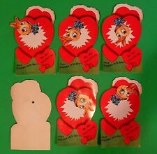 """Lot of 6-1950's Die Cut Valentines Cards 7"""" Tall-Mechanical Duck Head Wears Hat"""