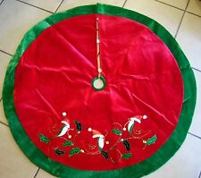 48 IN RED GREEN RED BIRDS HOLLY & BERRIES LINED CHRISTMAS TREE SKIRT DECORATION
