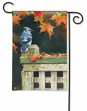 "AUTUMN BLUE JAY ON FENCE POST SMALL GARDEN BANNER FLAG 12.5x18"" FALL HOME DECOR"