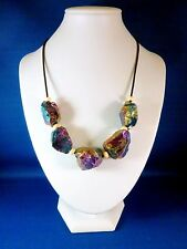 "New Multi-Color Raw Titanium Druzy Agate Stone beaded necklace 19"" leather cord"