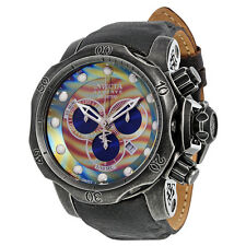 Invicta Venom  Chronograph Brown and Blue Rainbow Dial Distressed Black Leather