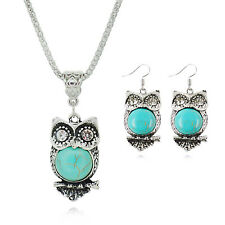 Women's Tibetan Silver Owl Turquoise Necklace Drop Dangle Earrings Jewellery Set