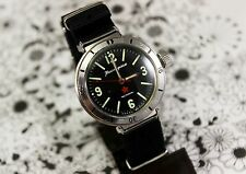 VINTAGE USSR amphibian diver watch Vostok swing lugs BLACK dial MILITARY SOVIET