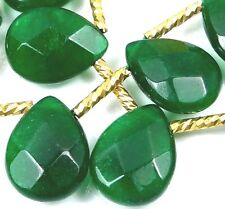 16x12mm Emerald Green JADE Faceted Briolette teardrop Beads (12)