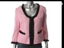 INC Womens Tweed Blazer size M Jacket Cropped Pink