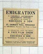 1957 Immigration Information Robinson And Son Travel Agent Penzance
