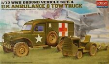 ACADEMY 1.72 Scale US AMBULANCE & TOWING TRACTOR GROUND VEHICLE SET - 13403