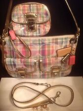 COACH 19610 Poppy Madras Tartan Plaid Pink Sequin Gold Bag Tote+ Wristlet Wallet