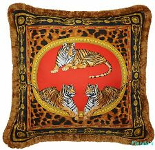 "VERSACE Tiger Africa Pillow - 17.7"" - Red"