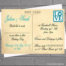 Vintage Love Postcard Any Colour Wedding Evening Day Reception Invites x12 H0614