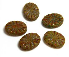 5 Large Flat Carved Czech Oval Beads Olive Green Red Focal Rustic 18x14mm T-89C