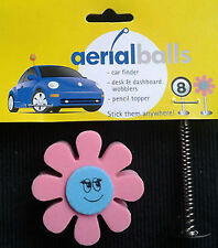 PINK FLOWER AERIAL BALL ANTENNA TOPPER +Spring Wobbler