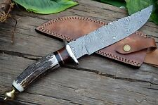 """14"""" Handmade Damascus Steel Hunting Combat Bowie Knife, Stag Horn, UK-007"""