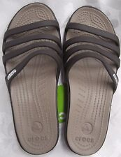NEW CROCS WOMENS RHONDA WEDGE SANDAL ESPRESSO MUSHROOM WOMENS SIZE 8