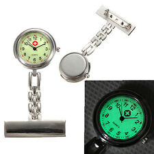 Silver Luminous Dial Nurse Doctor Brooch Clip Fob Pendant Quartz Pocket Watch