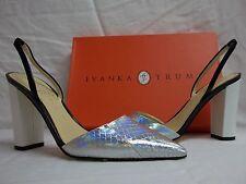 Ivanka Trump Sz 6 M Cami Silver Leather Snake Slingbacks Heels New Womens Shoes