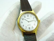 "RUSSIAN уайка,70's,17j Manual Wind""Classic White Dial"" Leather,MEN'S WATCH 900"