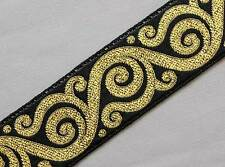 Jacquard Trim. Metallic Gold, Black. Celtic Scrolls. 3 Yards