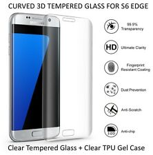 CLEAR TPU GEL CASE & 3D Tempered Glass Screen Protector Samsung Galaxy S6 EDGE