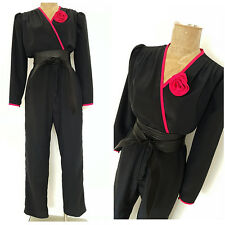 Vintage 80s Rosette Jumpsuit Size Medium Black Wrap Pantsuit Retro Disco Party