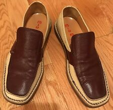 Miu Miu Men's Loafer Slip On Shoes. Beige And Brown. Made In Italy. Size IT 6.