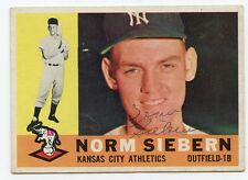 NORM SIEBERN Signed 1960 Topps #11 Athletics A's  KOA Authenticated