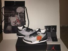 Air Jordan Retro 3 (Wolf Grey) w/Gym Bag & Socks 136064004 Mens Size 10.5
