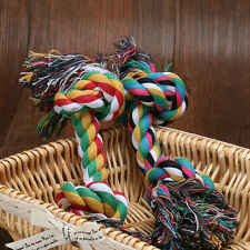 1X Pet Chew Knot Toy Cotton Braided Bone Rope Color Puppy Dog