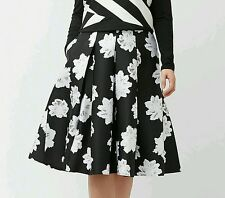 PRETTY LANE BRYANT WOMEN'S BLACK WHITE FLORAL PLEAT MIDI SKIRT PLUS Sz 18