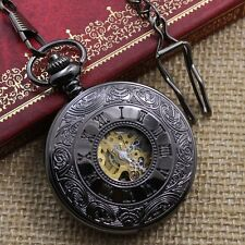 Retro Mens Skeleton Mechanical Vintage Pocket Watch Black Pendant Necklace Gift