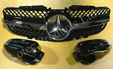 Mercedes Benz SL R230 Grille and LED Mirror Set   2002-2007 Obsidian Black