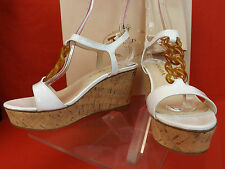 NIB PRADA WHITE PATENT LEATHER TORTOISE PRINT CHAIN CORK WEDGES SANDALS 40 9